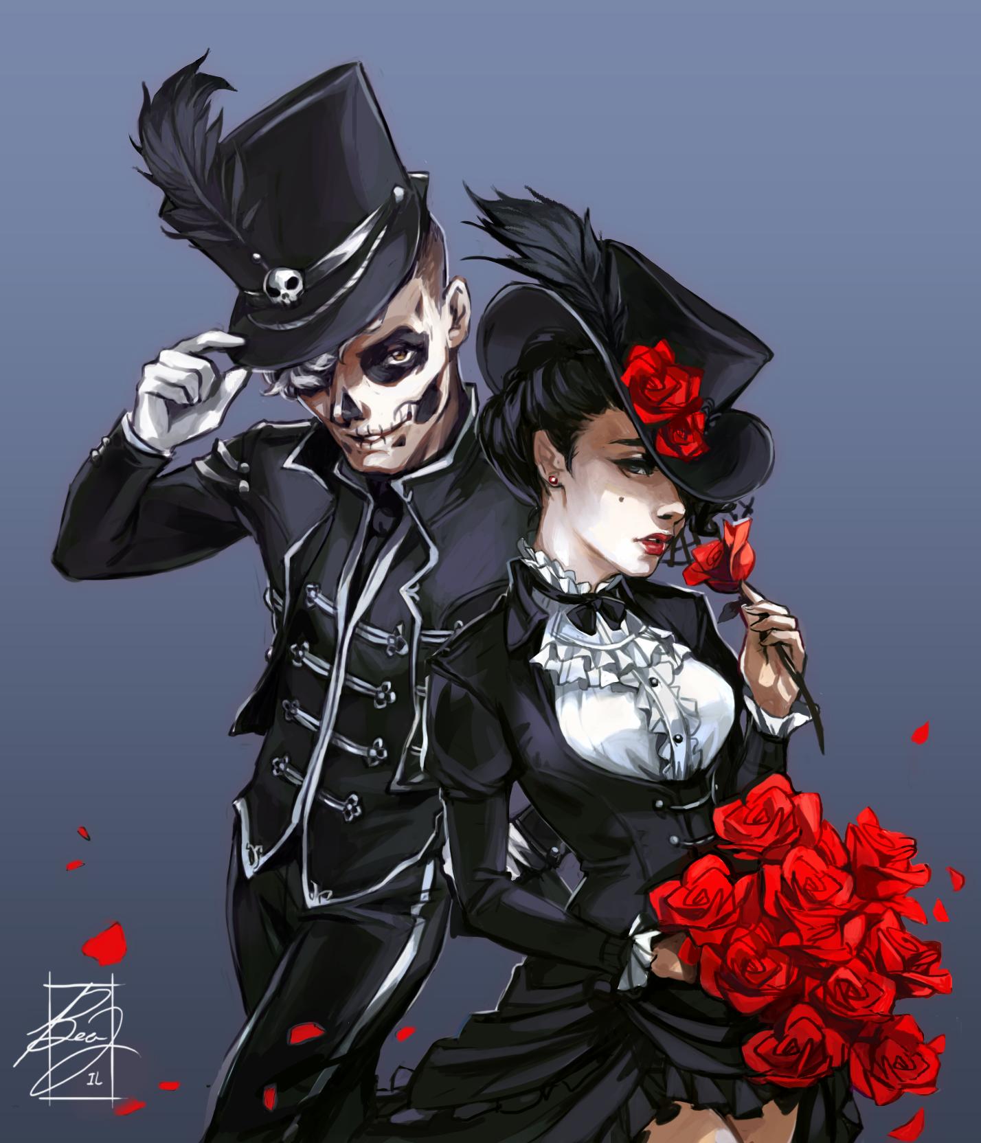 Фото Парень, лицо которого раскрашено под череп, и девушка с букетом алых роз