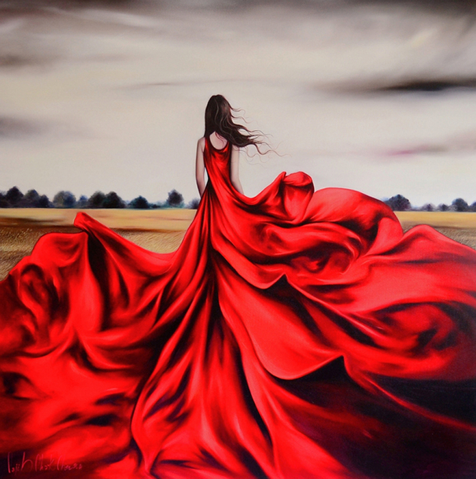 Открытки, картинки женщина в красном платье со спины