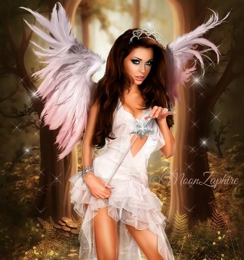 Фото Девушка с крыльями ангела и волшебной палочкой в руках стоит в лесу, by MoonZaphire