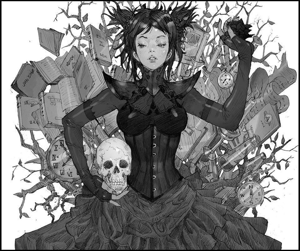 Фото Девушка с закрытыми глазами и с черепом в руке лежит на книгах
