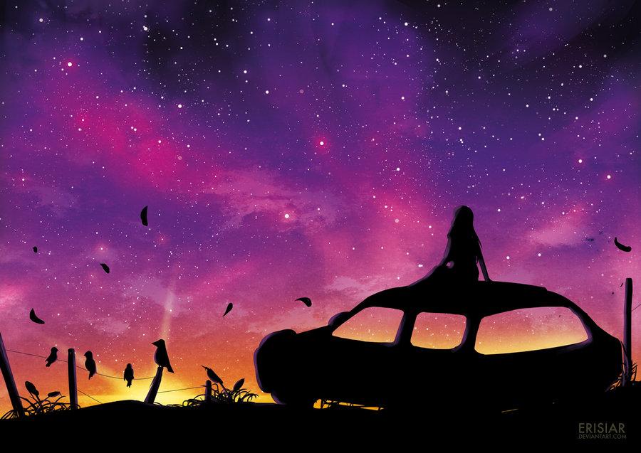 Фото Силуэт девушки, сидящей на крыше автомобиля, by Erisiar
