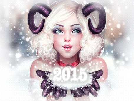 Фото Девушка блондинка с рогами сдувает снег с ладошек (2015)