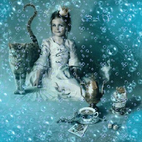Фото Девочка сидит на полу, рядом c ней кот, чайник, блюдца, шашки на фоне из пузырьков