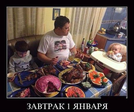 Фото Утро 1 января за семейным праздничным столом (завтрак 1 января)