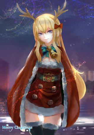 Фото Девушка с рожками в новогоднем костюме (Merry Christmas / Счастливого Рождества)