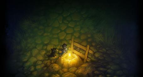 Фото Три котенка сидят возле горящего фонаря и деревянной изгороди