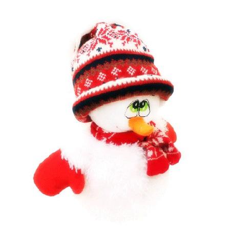 Фото Обиженный снеговичок, в шапочке, варежках и шарфе, моргает глазками