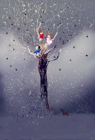 Фото Дети оставив велосипеды и собачку, взобрались на дерево, распугав всех птиц, by PascalCampion