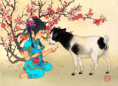 Фото Девочка-азиатка сидит возле цветущего дерева и кормит цветком козочку, by Caroline Young
