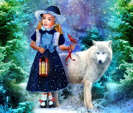 Фото Девочка с птицей и фонарем в руках, рядом стоит белый волк