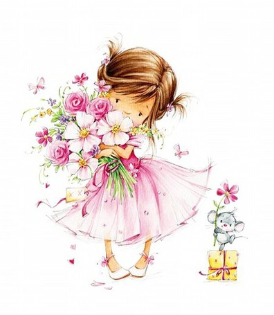 Фото Девочка держит в руках большой букет цветов, рядом на коробочке стоит мышонок