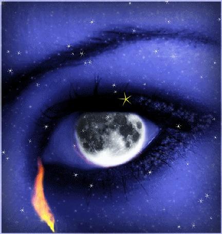 Фото Глаз со зрачком в виде луны, слеза-пламя, мерцание звезд