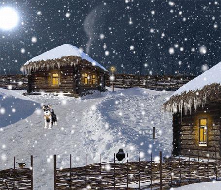 Фото Ночная, деревенская улица с деревянными избушками, освещенными в них окнами, дымком, вьющимся из печной трубы, лающей собаки, стоящей на дороге и виляющей хвостиком, сороки и синички, сидящих на плетне, свитом из веток на фоне ночного неба, полной луны и падающего снега
