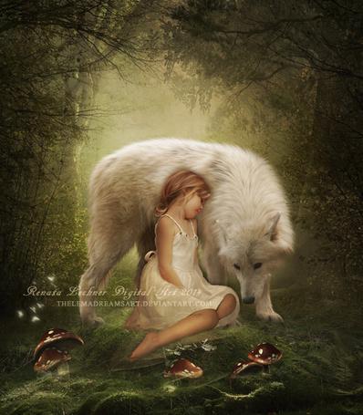 Фото Милая, светловолосая девочка, сидящая на поляне возле растущих диковинных грибов, нежно прислонила свою голову к мягкой шерсти белого волка, автор ThelemaDreamsArt