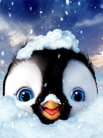 Фото Пингвиненок весь в снегу