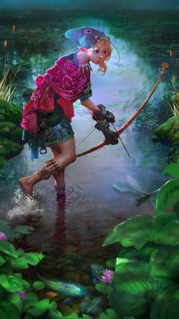 Фото Девушка - эльф держит лук, art by Miles-Johnston