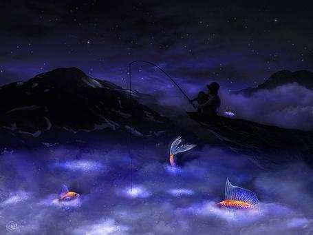 Фото Мальчик с удочкой в руке, сидящий на скалистом берегу моря, пытается поймать золотую рыбку, несколько рыбок выпрыгивают из воды, рядом с мальчиком стоит стеклянный сосуд с находящейся в нем рыбкой на фоне ночного, звездного неба, автор ParadisiasPicture