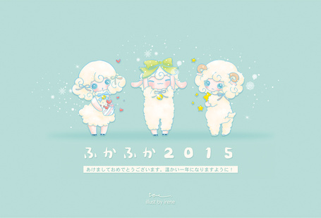 Фото Три милых овечки на голубом фоне