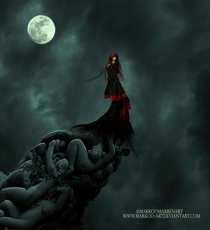 Фото Девушка стоит на фоне ночного облачного неба с полной луной, by MarkOoMarben