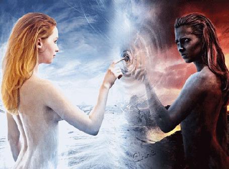 Фото Две девушки по разные стороны реальности, темная и светлая стороны