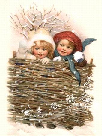 Фото Девочка кидает снежок,(Веселых праздников)