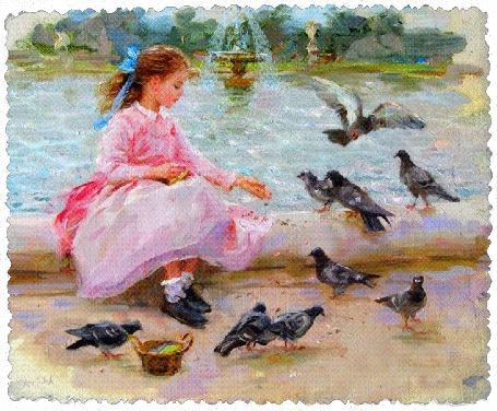 Фото Девочка сидит на краю фонтана и кормит голубей