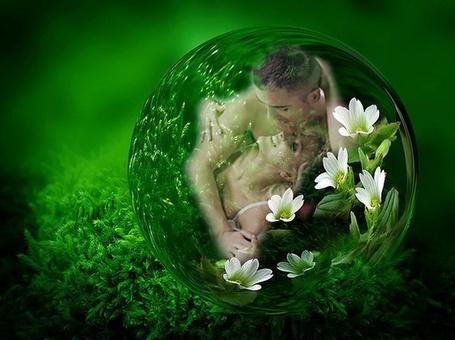 Фото В капельке росы отражение влюбленной пары и цветов