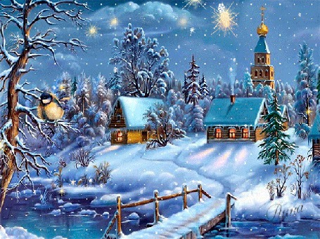 Фото Зимний пейзаж, за домиками видна церковь, речка, мостик, на дереве сидит птичка, идет снег