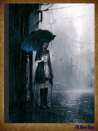 Фото Девушка с раскрытым зонтом и в резиновых сапожках стоит под дождем, by Akela
