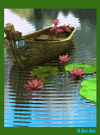 лодка плывет по воде