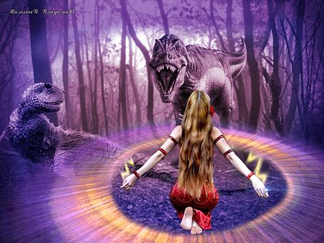 Фото Девушка в магическом круге
