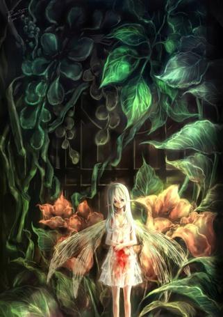 Фото Девушка-эльф в окровавленном платье на фоне цветов