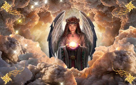 Фото Девушка - ангел держит в руках магический шар