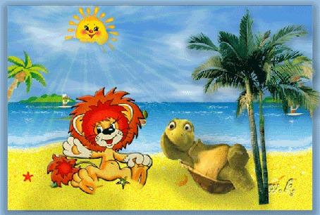 Фото Лев и черепаха лежат у моря на песке вблизи пальмы под солнцем (мультфильм Львенок и черепаха)