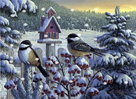 Фото В снегопад две синицы вылетели из своречника, в виде избушки, и сели на куст с красными ягодами засыпанный снегом, кругом тайга и пушистые заснеженные ели