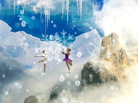 Фото Зимний пейзаж, сосульки сугробы, из-под снега видна скала, две девочки катаются на коньках, идет снег