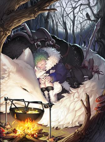Фото Мальчик с волчонком на руках спит, прижавшись к огромному волку, рядом горит костер, над которым висит котелок