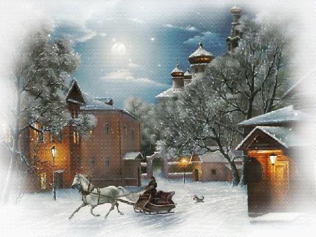 Фото Лошадь везет сани по снегу, за ними бежит маленькая собачка