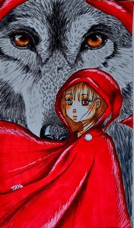 Фото Девочка Красная Шапочка стоит на фоне огромного волка в красной шапочке, Tikka