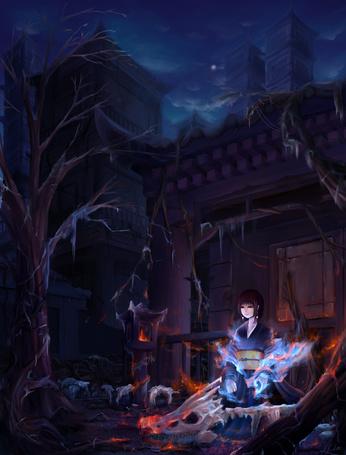 Фото Девушка в кимоно сидит возле черепа, art by misaera