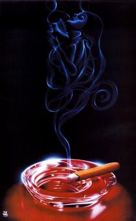 Фото От горящей сигареты исходит дым в виде мужчины и девушки