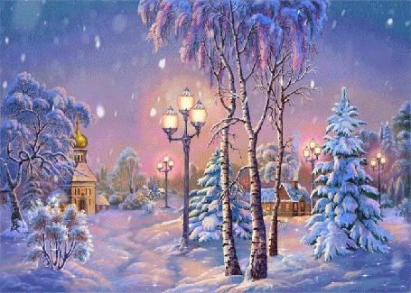 Фото На небольшой хуторок, на опушке леса, спускаются сумерки, зажигаются фонари, в избе из трубы идет дым, неподалеку у дороги стоит церковь среди заснеженных деревьев, идет снег