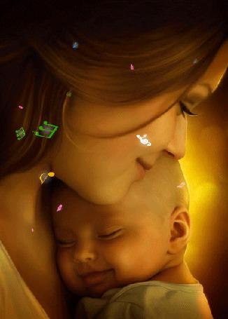Фото Девушка прижимает к себе малыша, летят нотные знаки