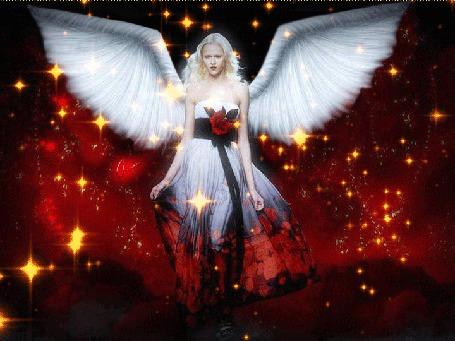 Фото Девушка - ангел с розой на платье, машет крыльями, звездопад