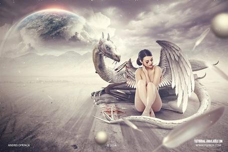 Фото Девушка с поломанным крылом ангела и кровавыми слезами сидит возле белого дракона на фоне планет, by Andrei-Oprinca