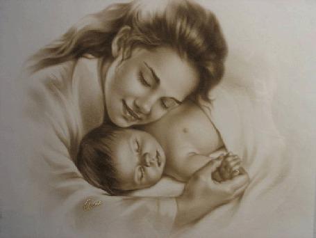 Фото Мать и дитя лежат в обнимку