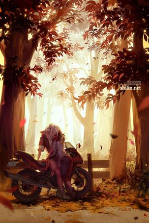 Фото Мужчина с девушкой обнимаются в лесу, стоя у мотоцикла, by shilin