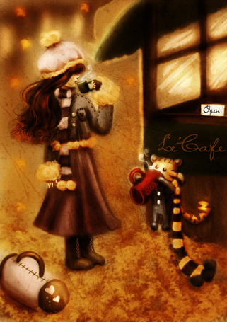 Фото Девушка и тигр пьют горячий кофе возле кафе (Lе Cafe)