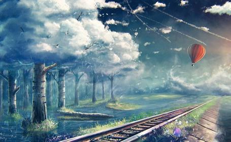 Фото Воздушный шар над железной дорогой, вдоль которой растут деревья с кронами в виде облаков, by sylar113
