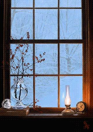 Фото За окном зима, деревья в снегу, а на подоконнике горит керосиновая лампа, тикает будильник, на книге стоит ваза с веточками